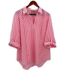 CHICO'S Pink Striped 3/4 Sleve V-Neck Tunic Top 3